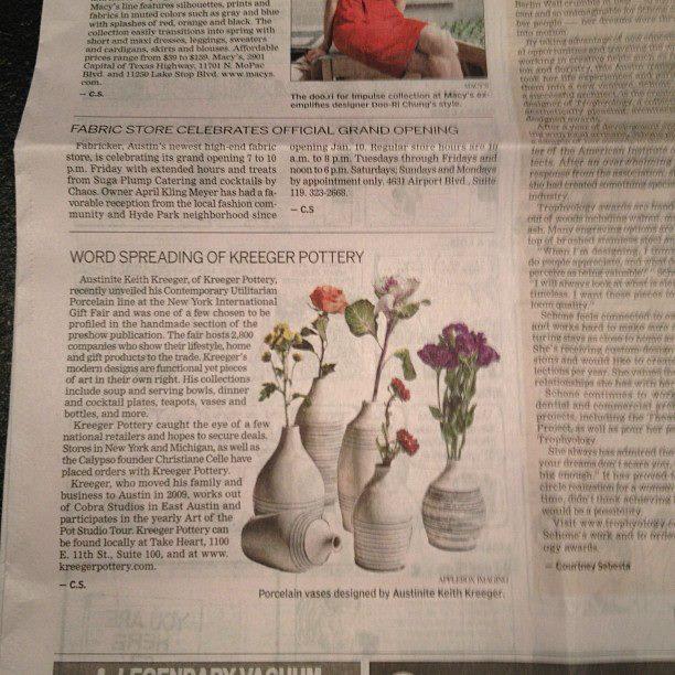 Kreeger Pottery in the Austin American Statesman