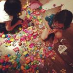 The girls scored at the neighborhood Easter Egg hunt