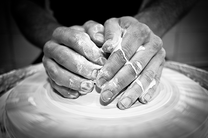 Centering the clay
